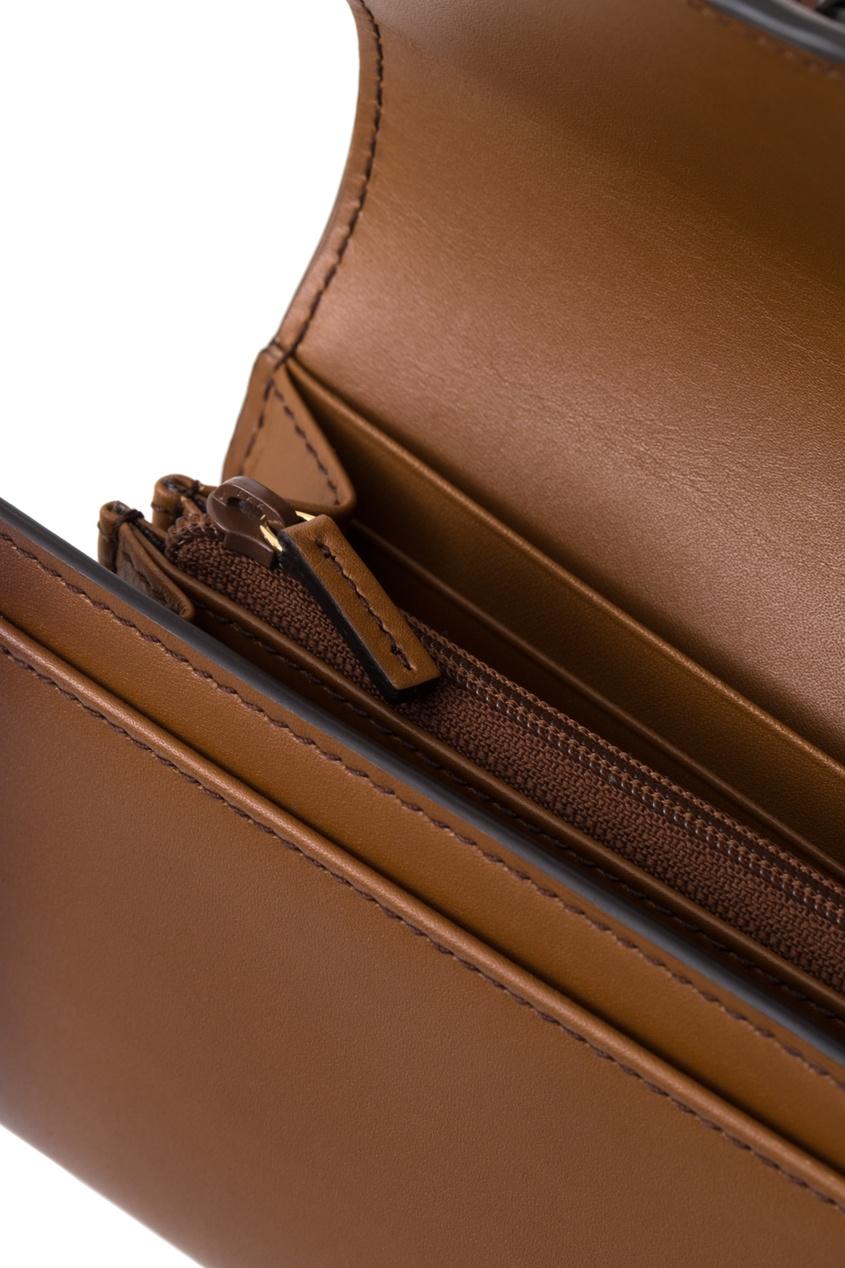Фото - Кожаный кошелек Lady Web от Gucci коричневого цвета