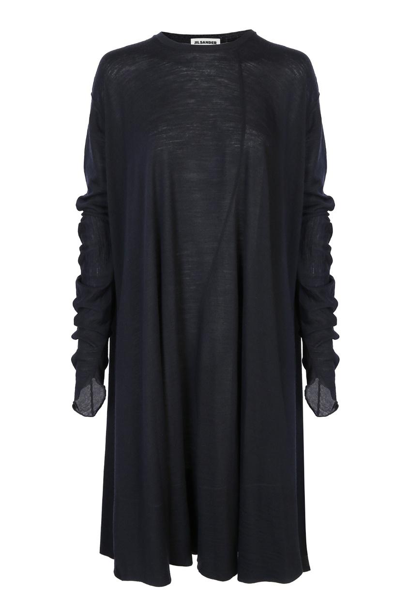 женское шерстяные платье jil sander navy, синее