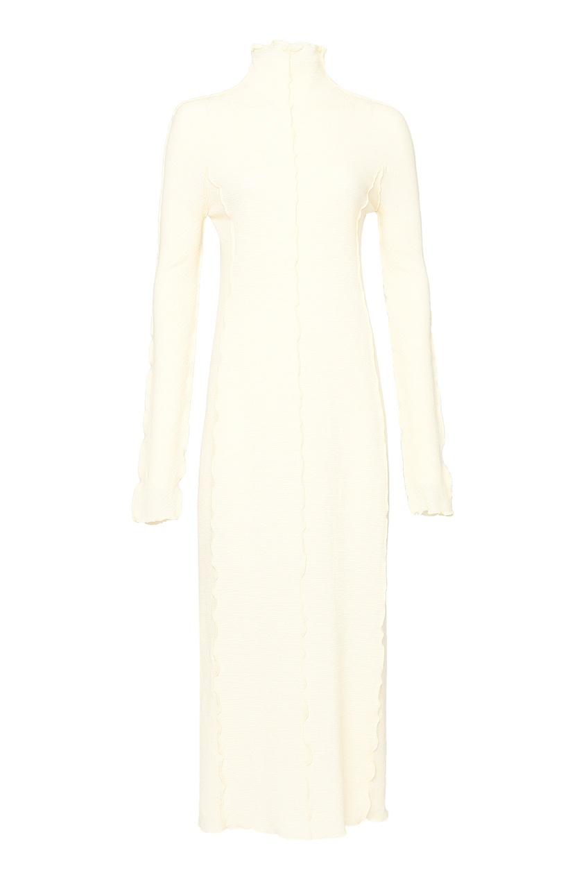 женское шерстяные платье jil sander navy, желтое