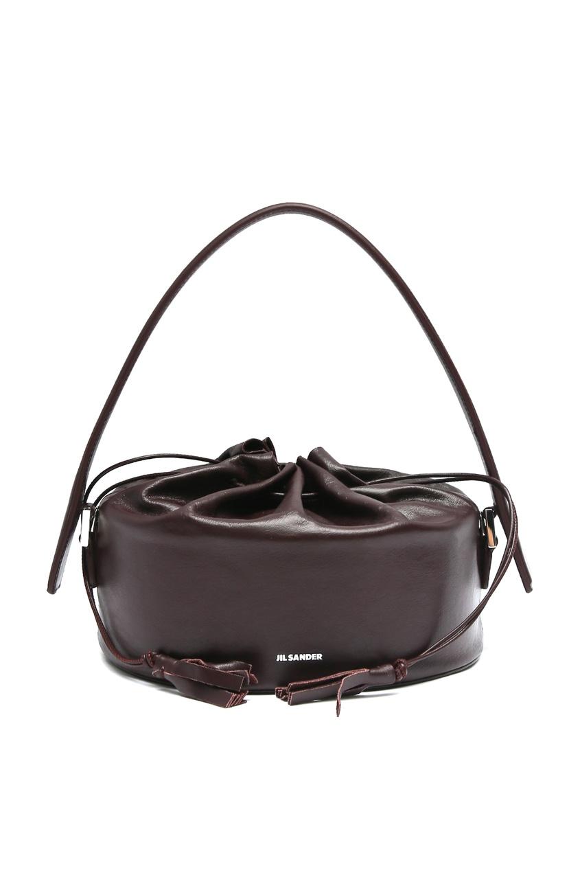 женская кожаные сумка jil sander navy, фиолетовая