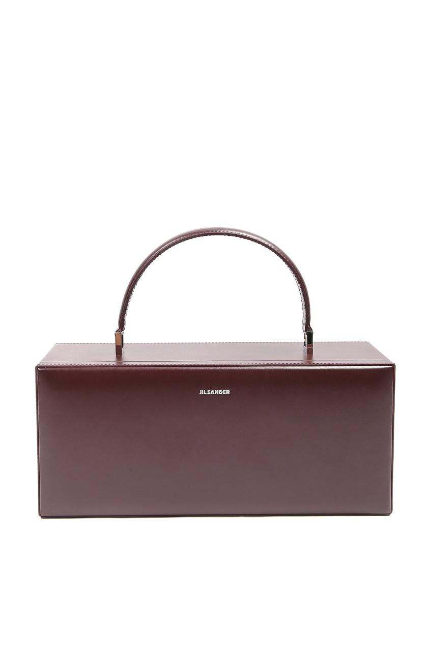женская кожаные сумка jil sander navy, красная
