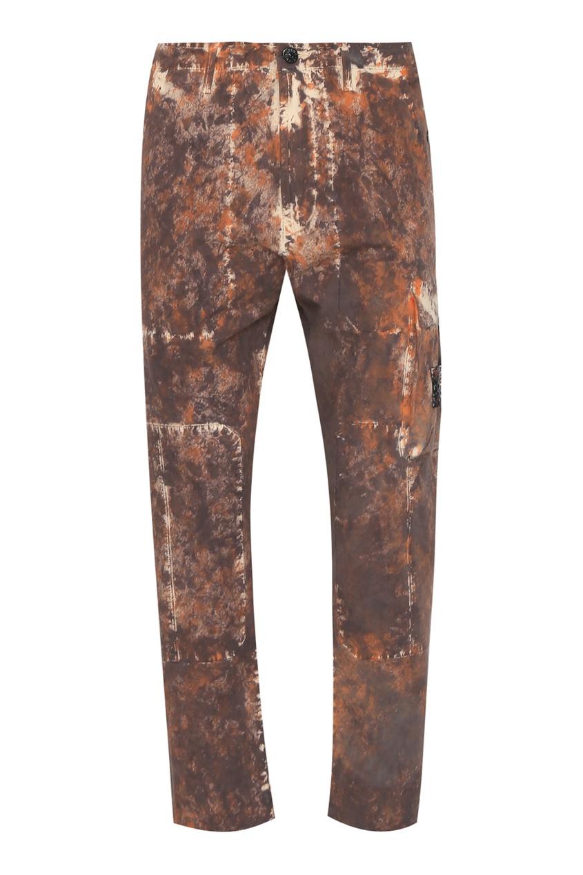 Принтованные брюки прямого кроя от Stone Island