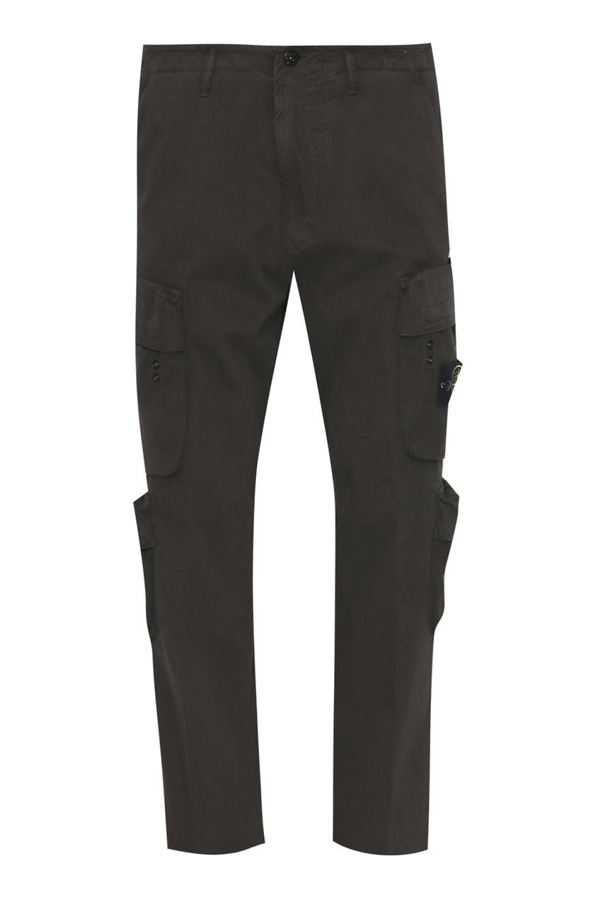 Коричневые брюки с накладными карманами от Stone Island