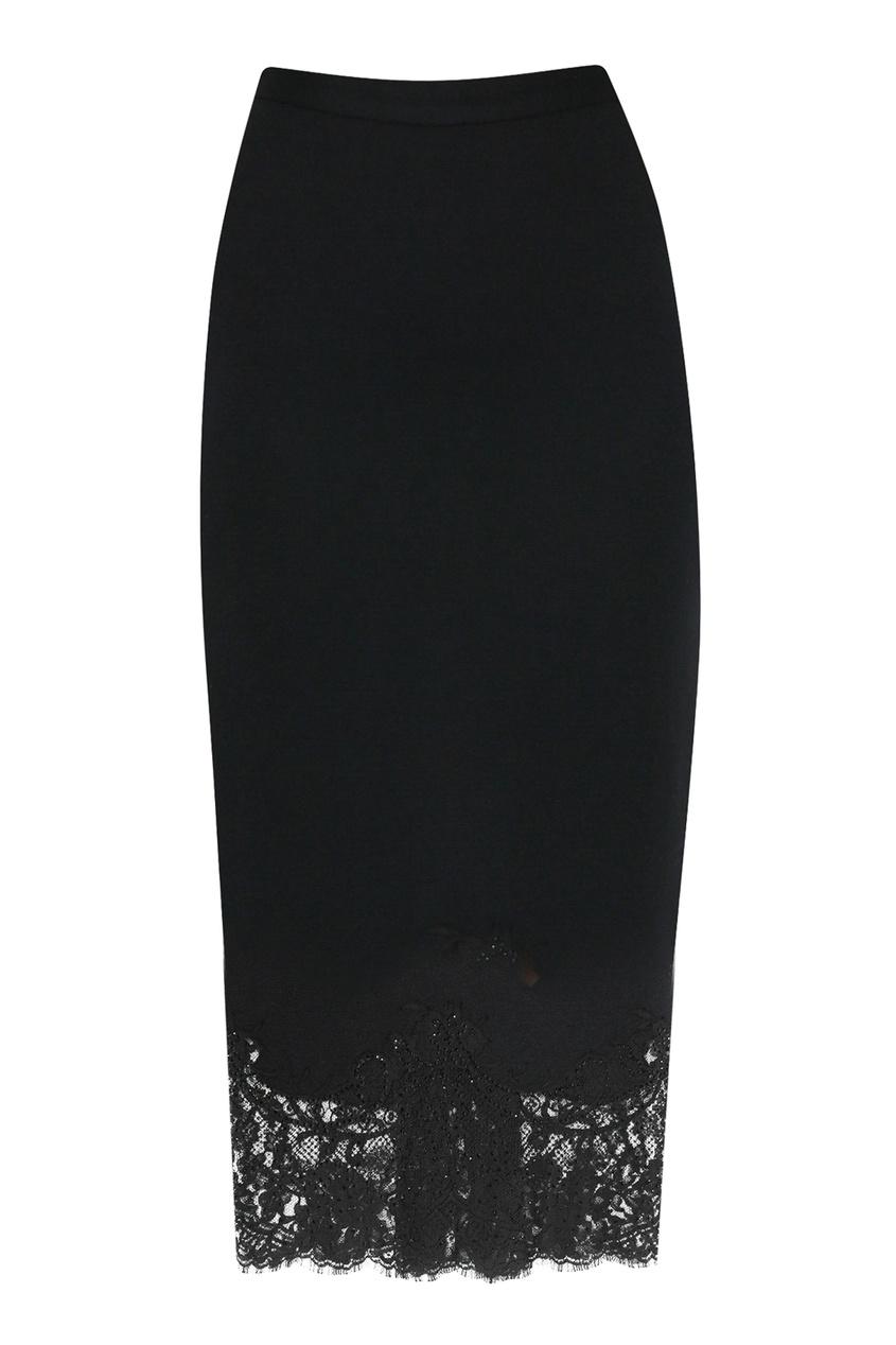 женская кружевные юбка ermanno scervino, черная
