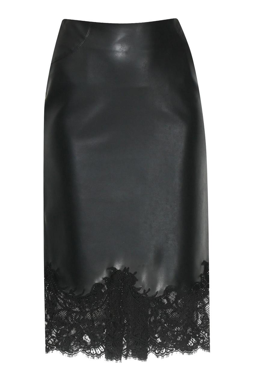 Черная юбка с кружевной отделкой Ermanno Scervino