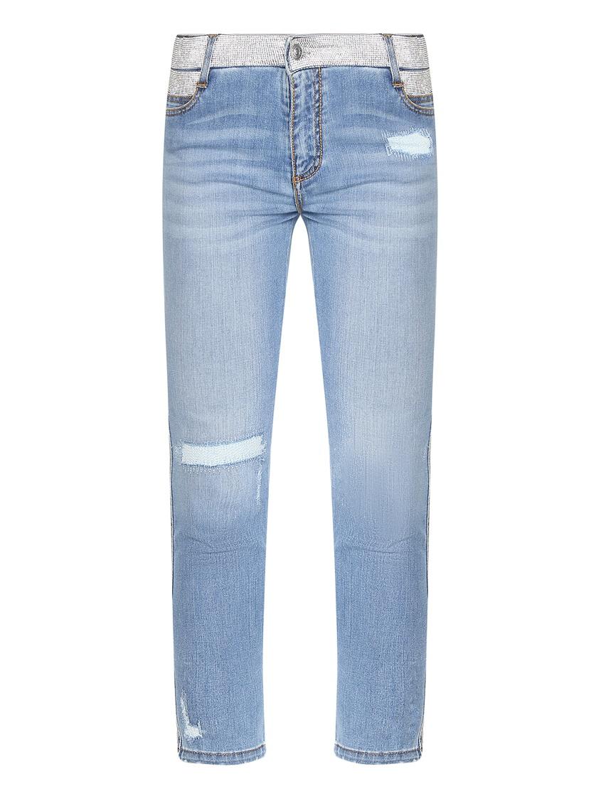 женские потертые джинсы ermanno scervino, синие