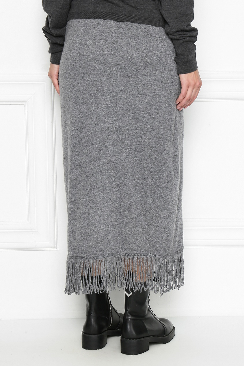 Серая вязаная юбка с бахромой Marina Rinaldi