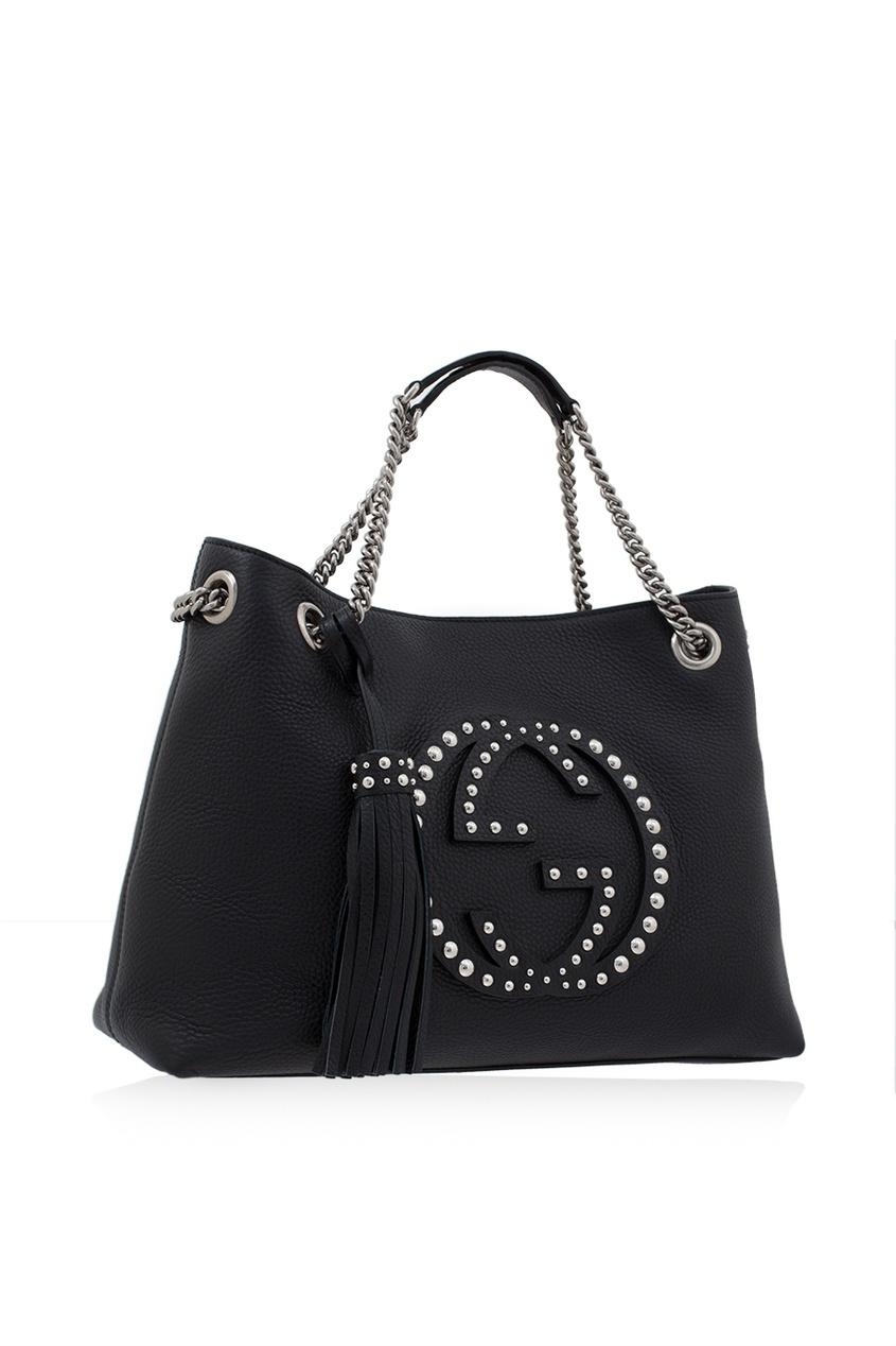 Фото - Кожаная сумка Soho черная от Gucci черного цвета
