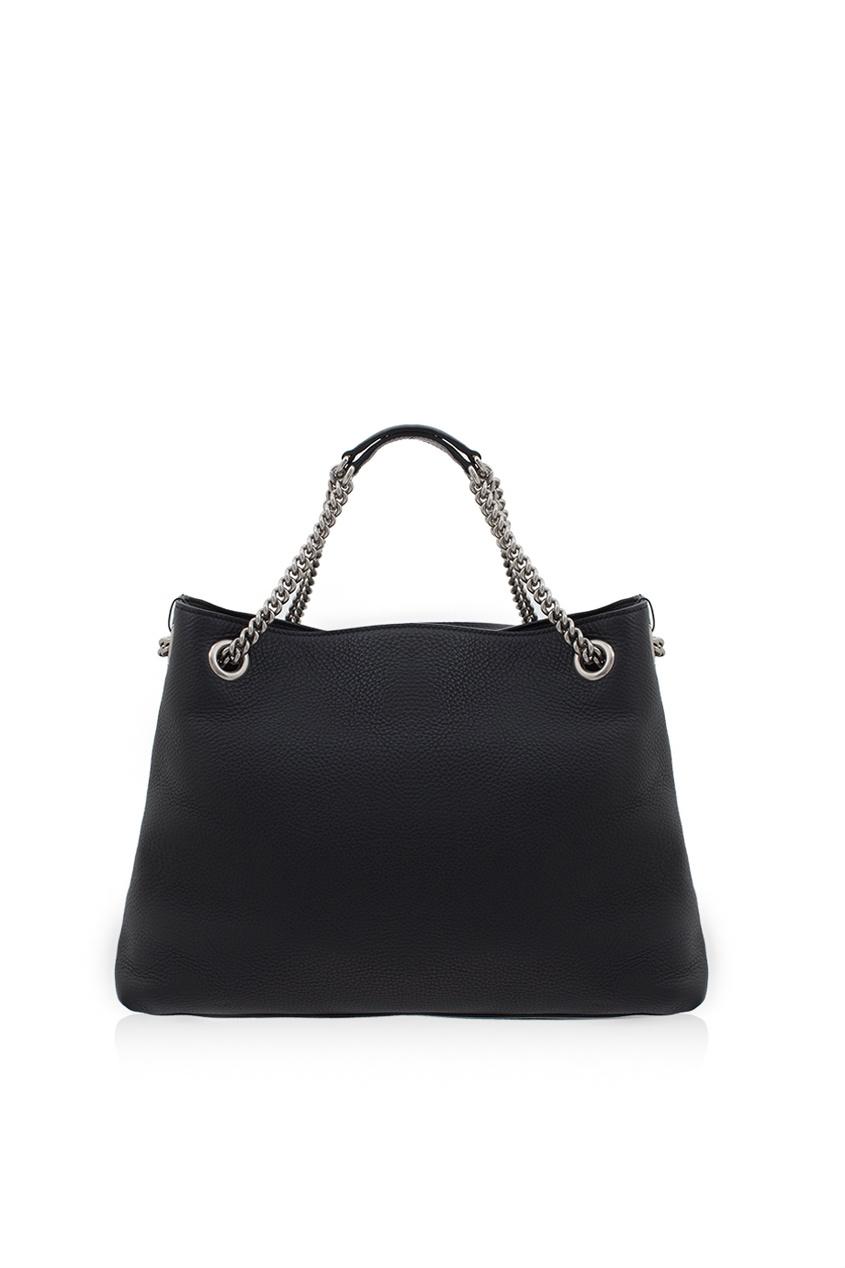 Фото 2 - Кожаная сумка Soho черная от Gucci черного цвета