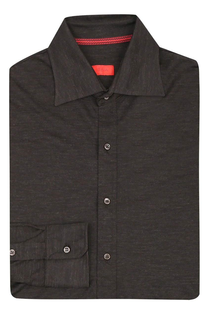 мужская рубашка isaia, коричневая