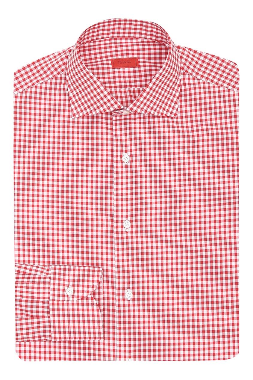 мужская рубашка в клетку isaia, красная