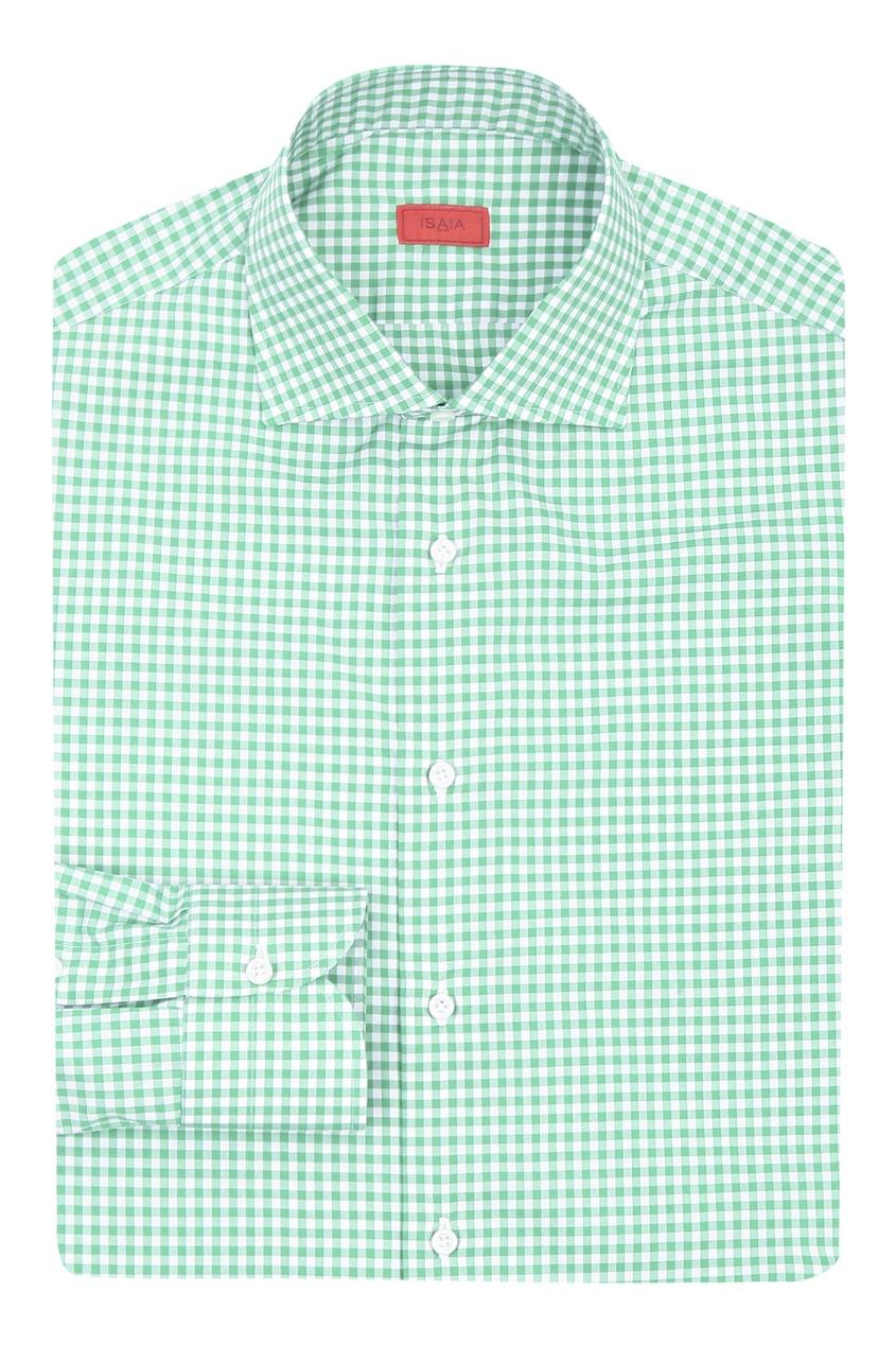 мужская рубашка в клетку isaia, зеленая
