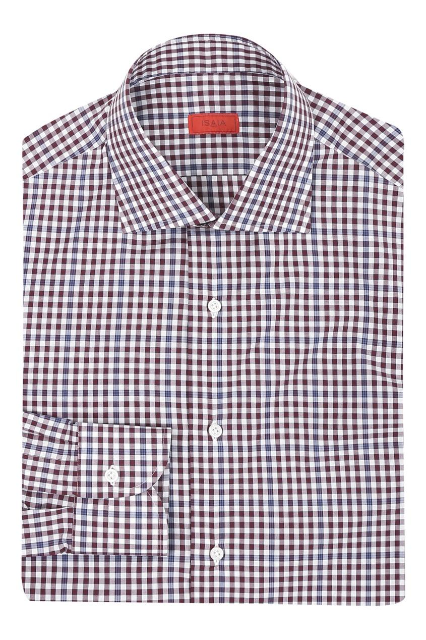 мужская рубашка в клетку isaia