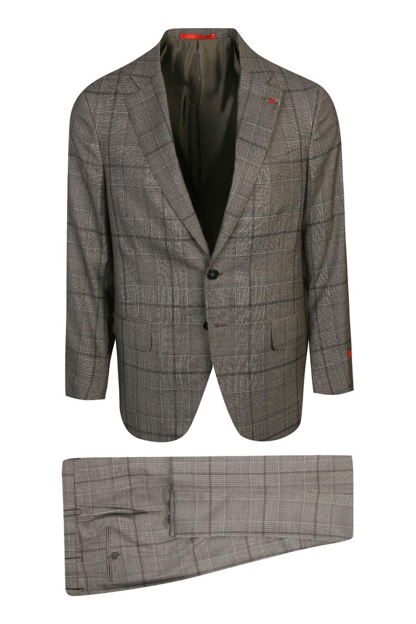 мужской костюм в клетку isaia, серый
