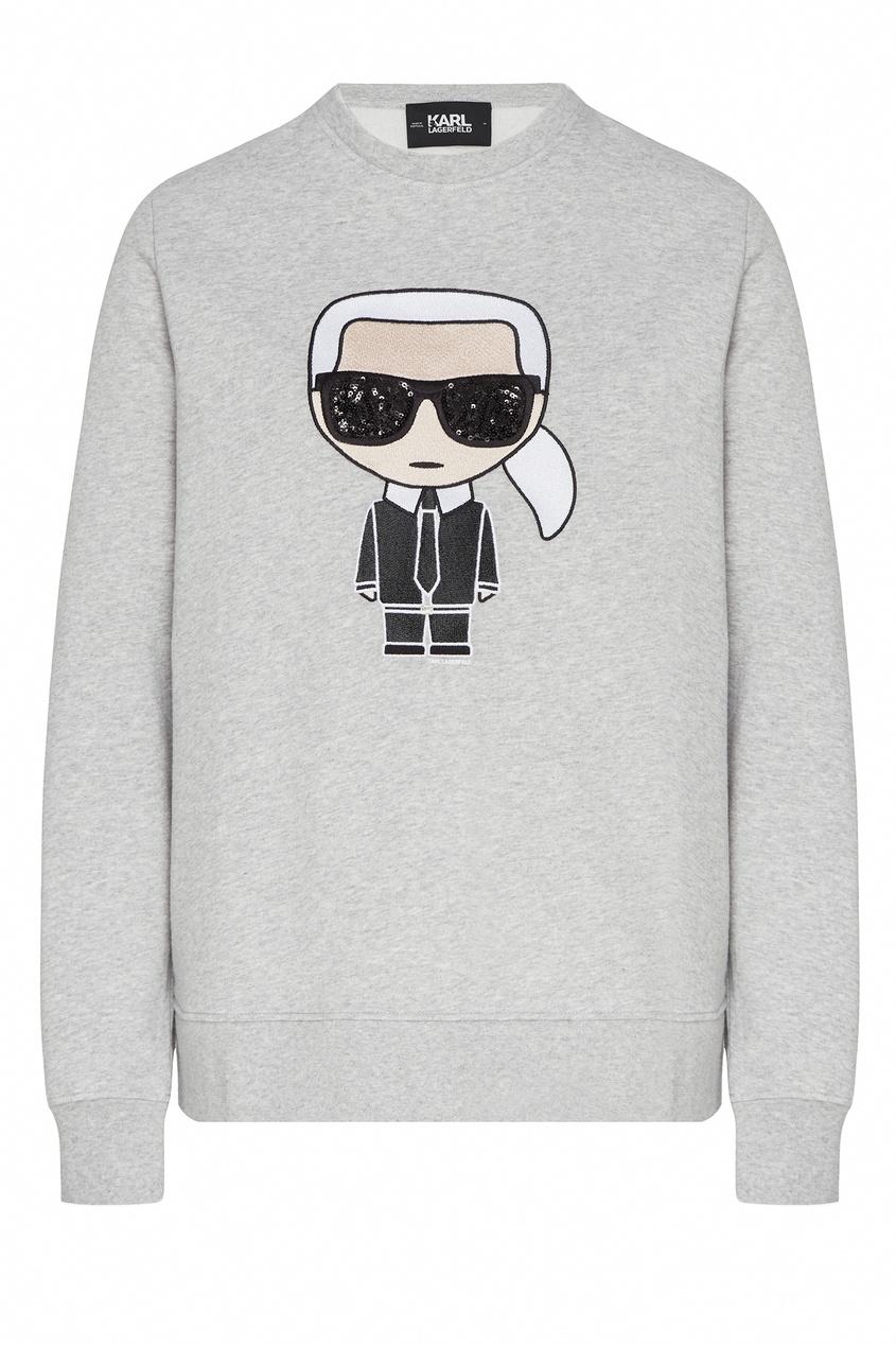 Серый свитшот с рисунком от Karl Lagerfeld