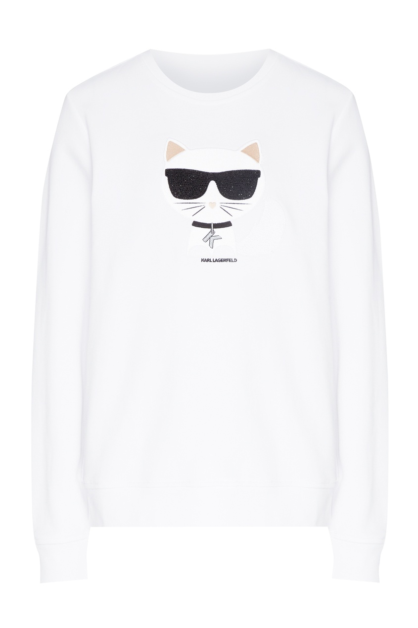 Белый свитшот с рисунком от Karl Lagerfeld