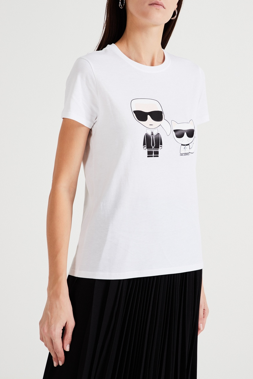 женская футболка с принтом karl lagerfeld, белая