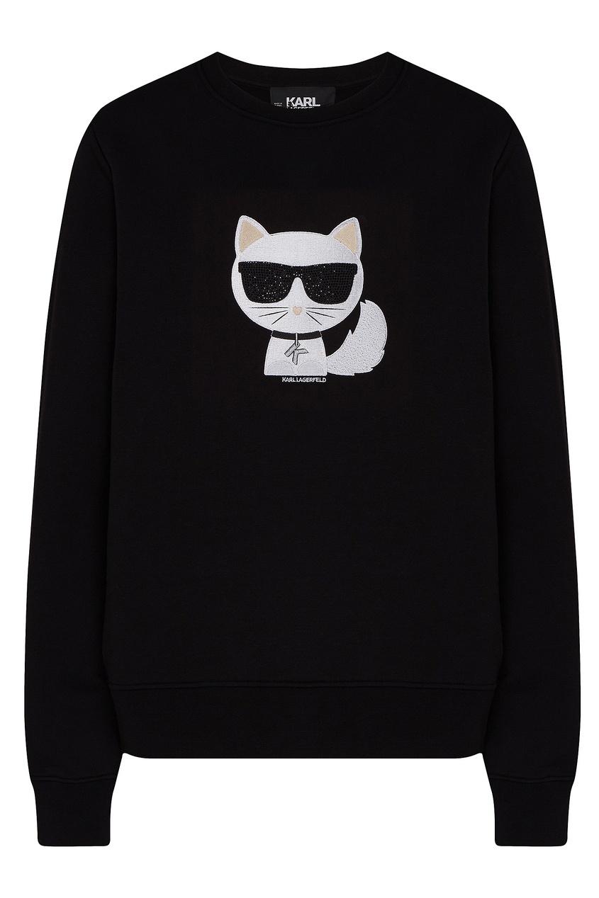 Черный свитшот с контрастным принтом от Karl Lagerfeld