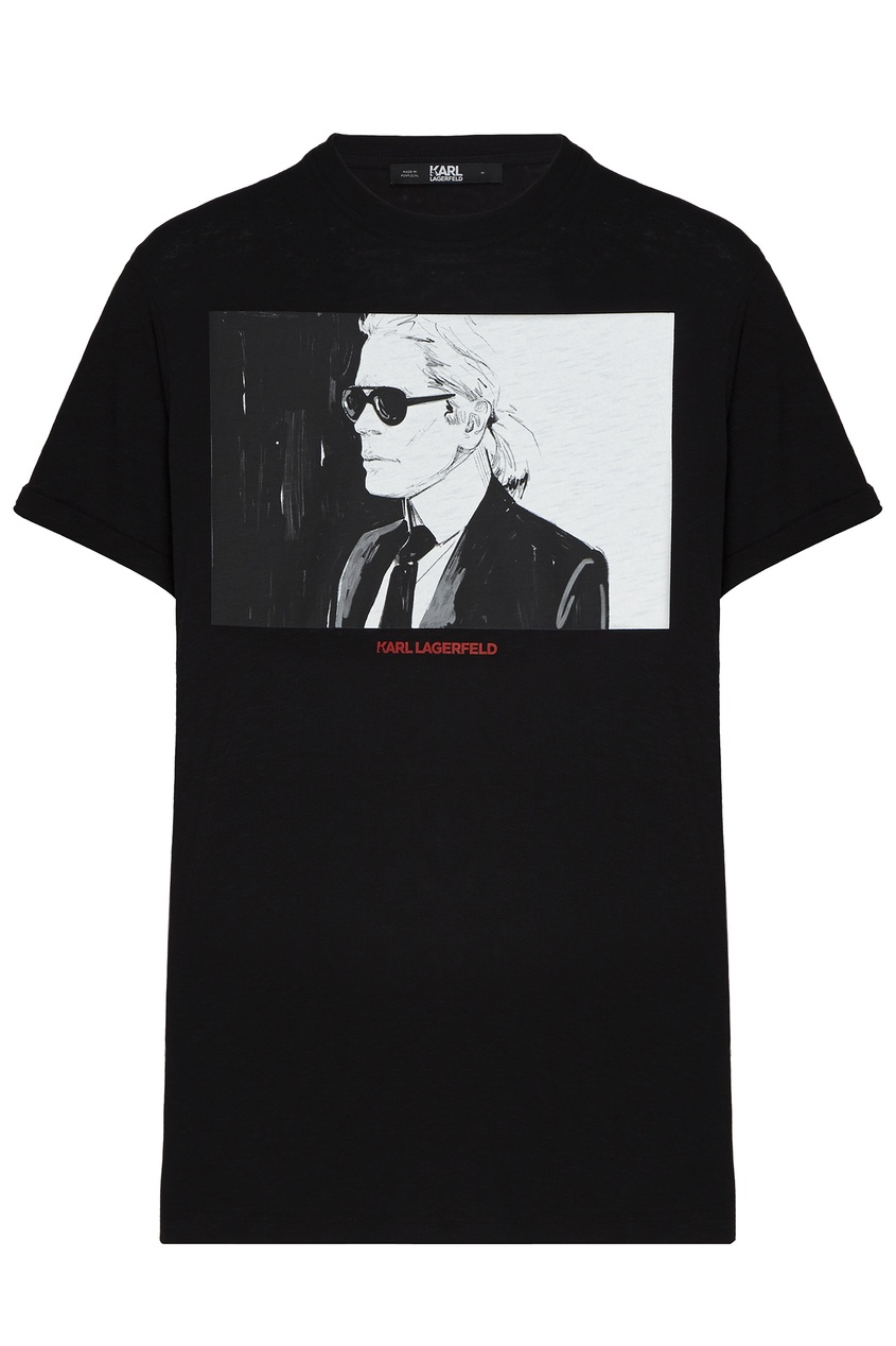 женская футболка с рисунком karl lagerfeld, черная