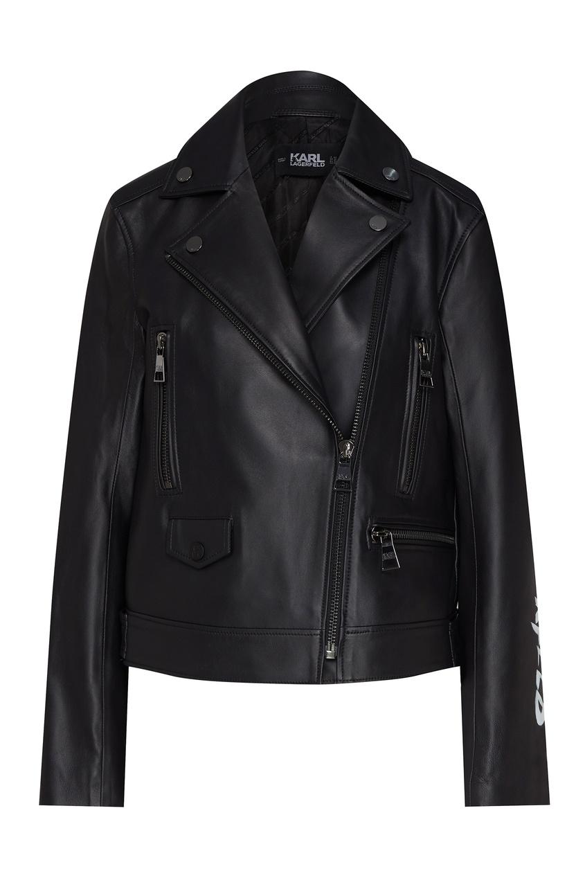 Черная байкерская куртка с портретом от Karl Lagerfeld