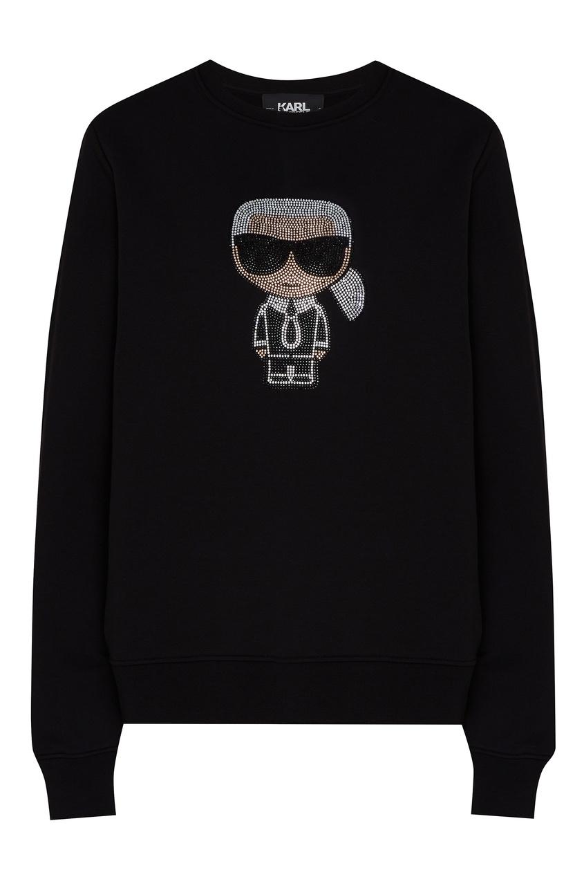 Черный свитшот с блестящим рисунком от Karl Lagerfeld