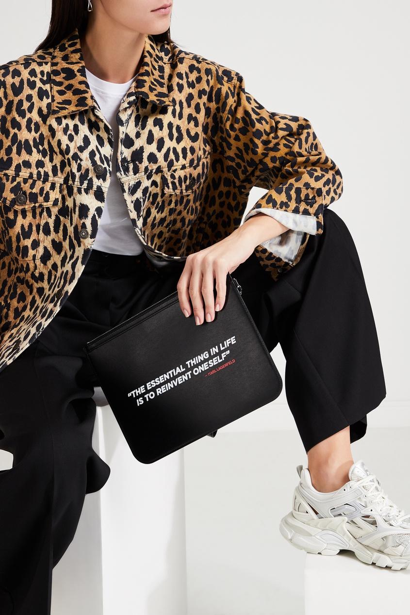 Черный кожаный клатч с надписью Karl Lagerfeld