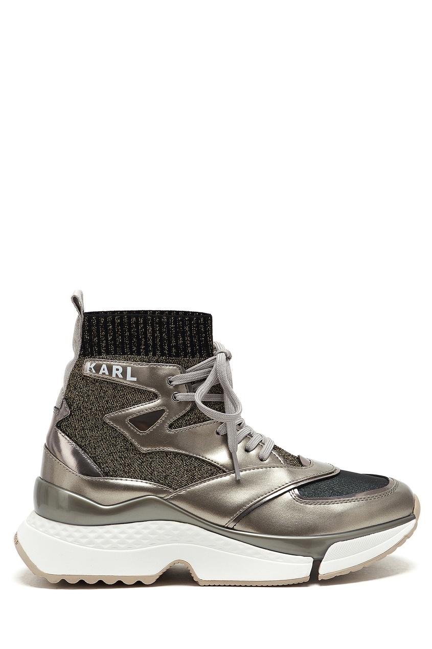 женские высокие кроссовки karl lagerfeld, серебряные