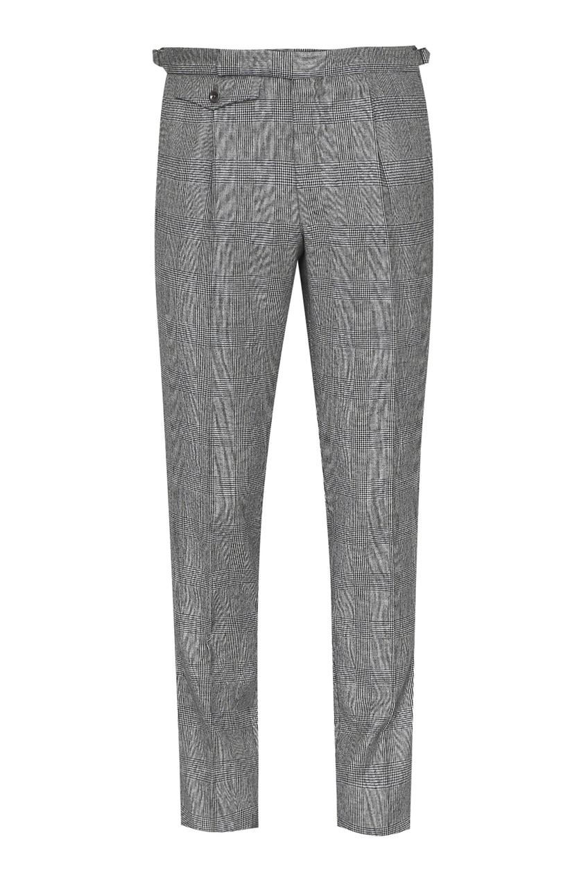 мужские брюки в клетку incotex, серые