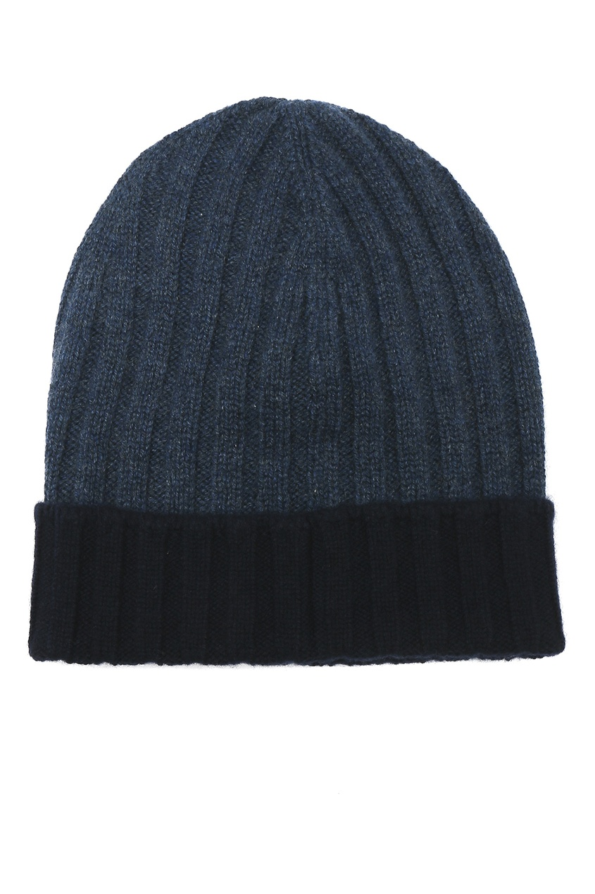 Синяя шапка с контрастным отворотом