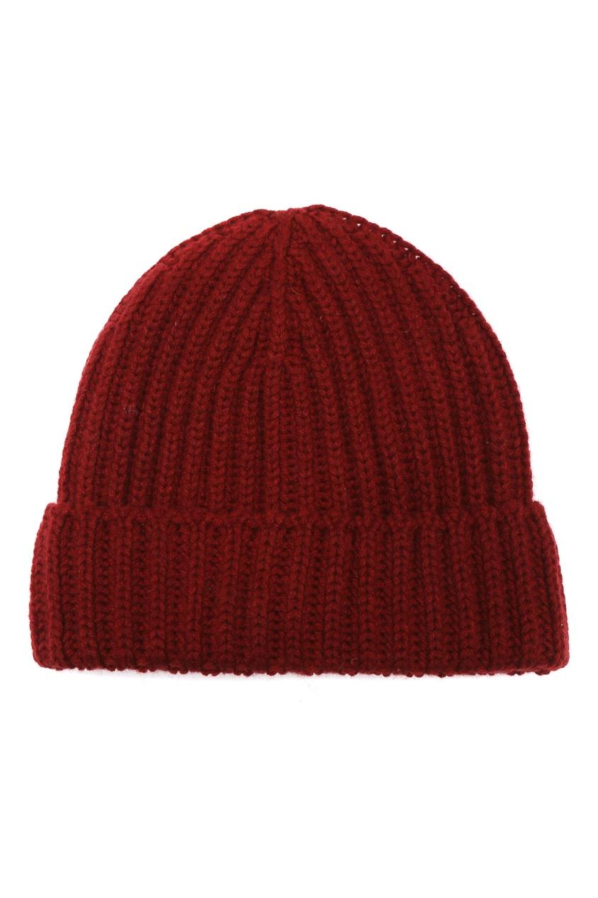 Темно-красная кашемировая шапка