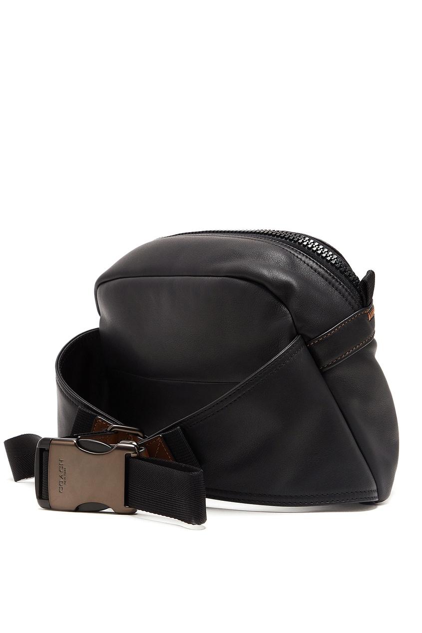 мужская кожаные сумка coach, черная