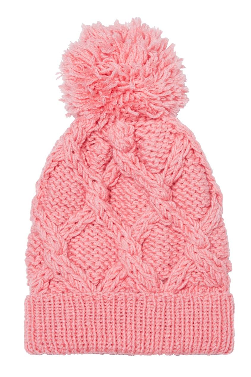 Розовая шапка с узором и помпоном
