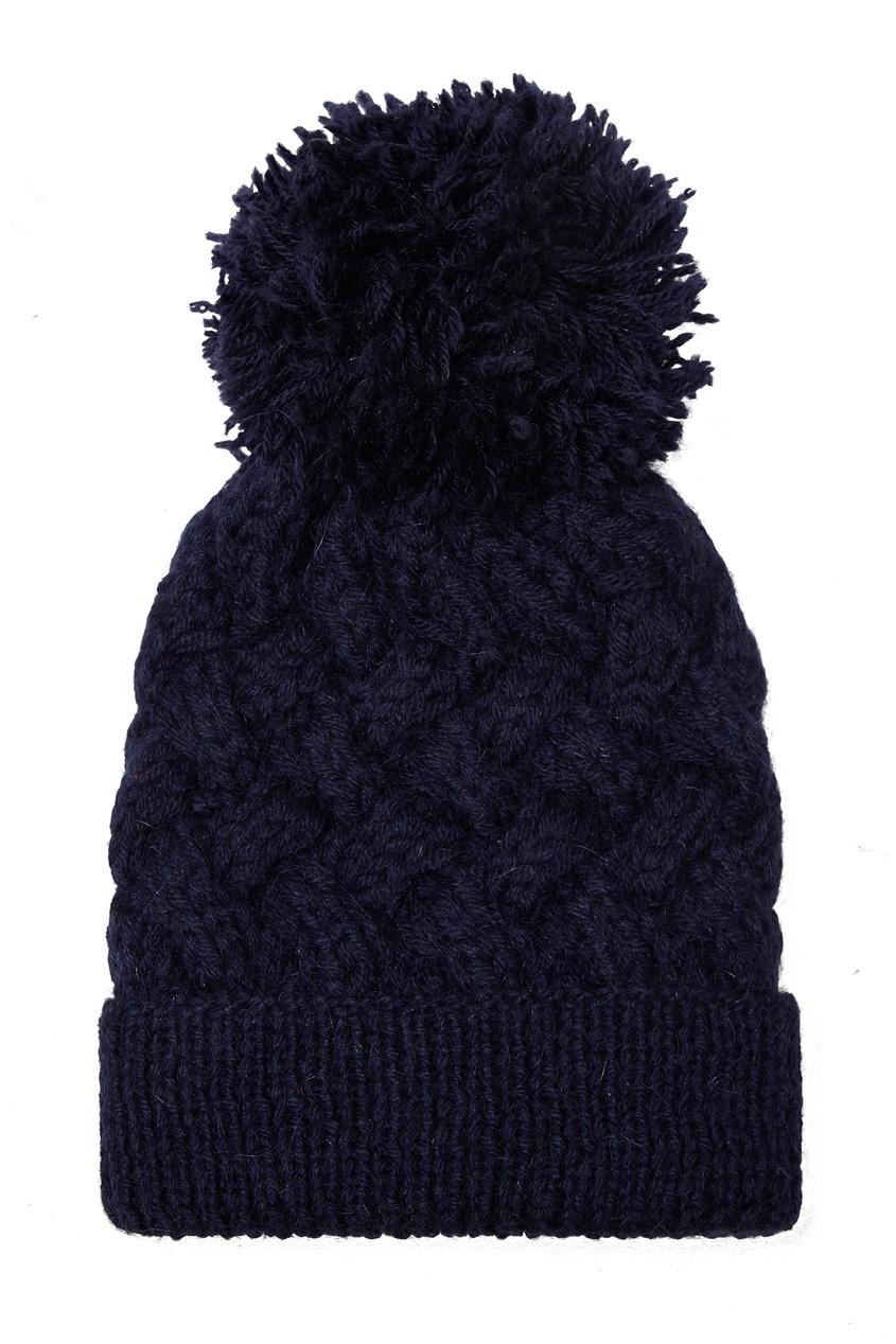 Темно-синяя шапка с узором и помпоном