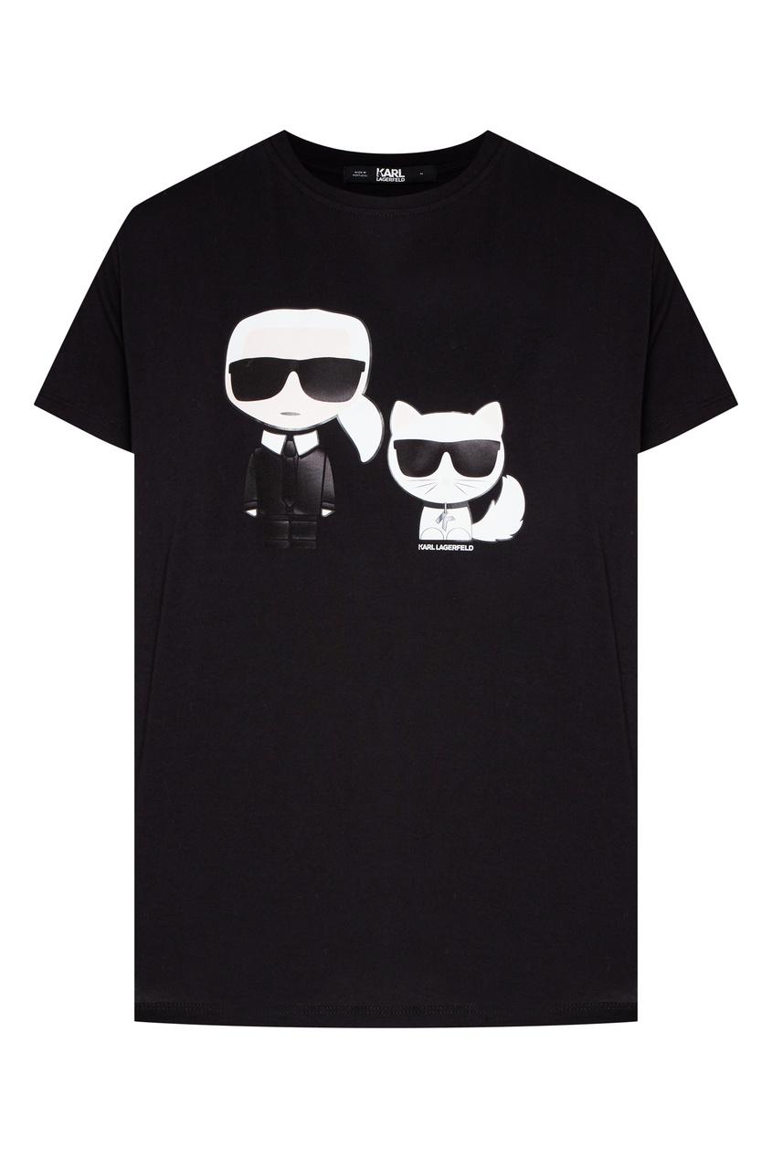 женская футболка с принтом karl lagerfeld, черная