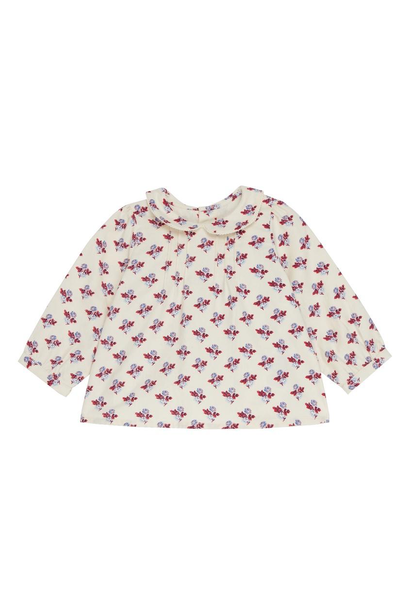 Хлопковая блуза с узором Bonpoint