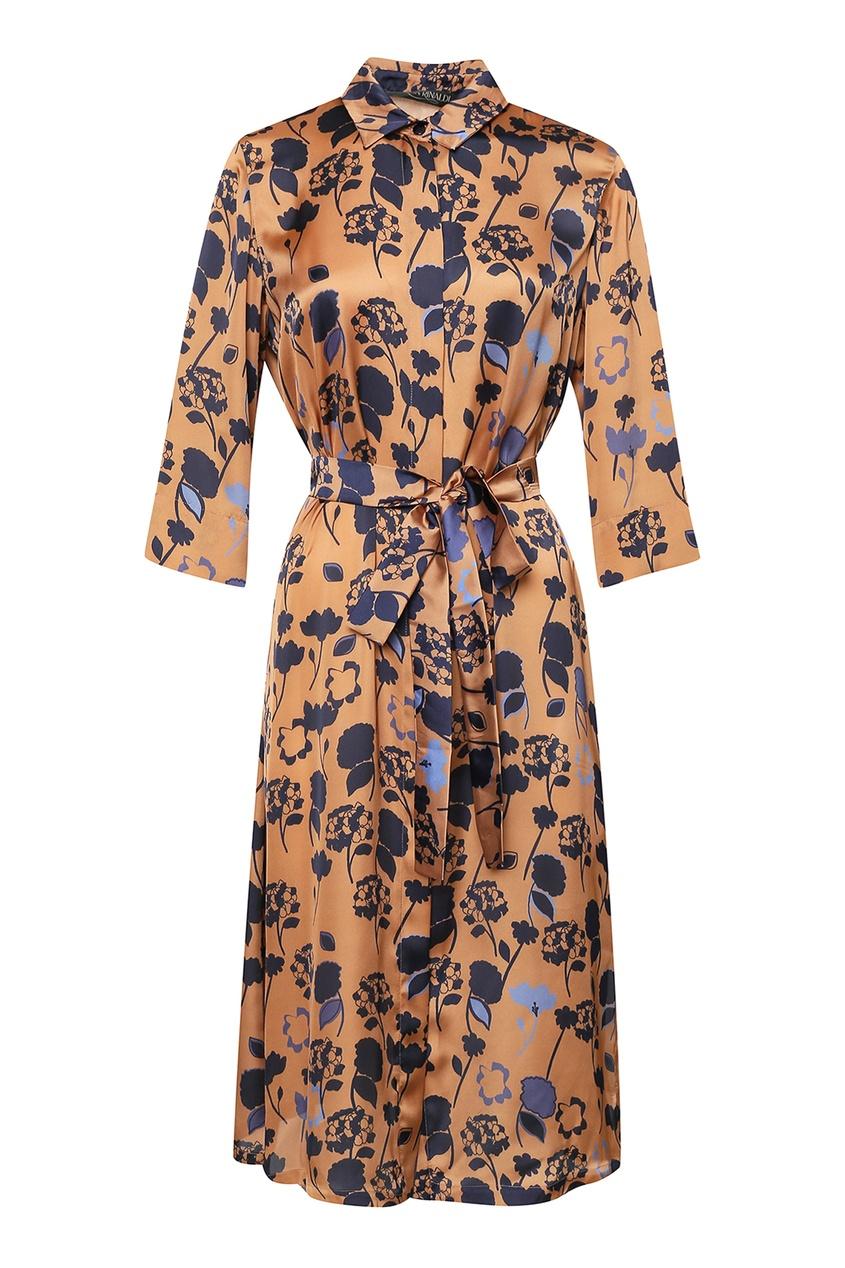 женское платье marina rinaldi, коричневое