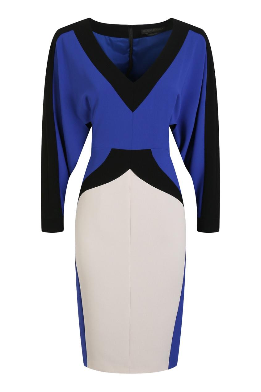 Синее платье с контрастными вставками от Marina Rinaldi