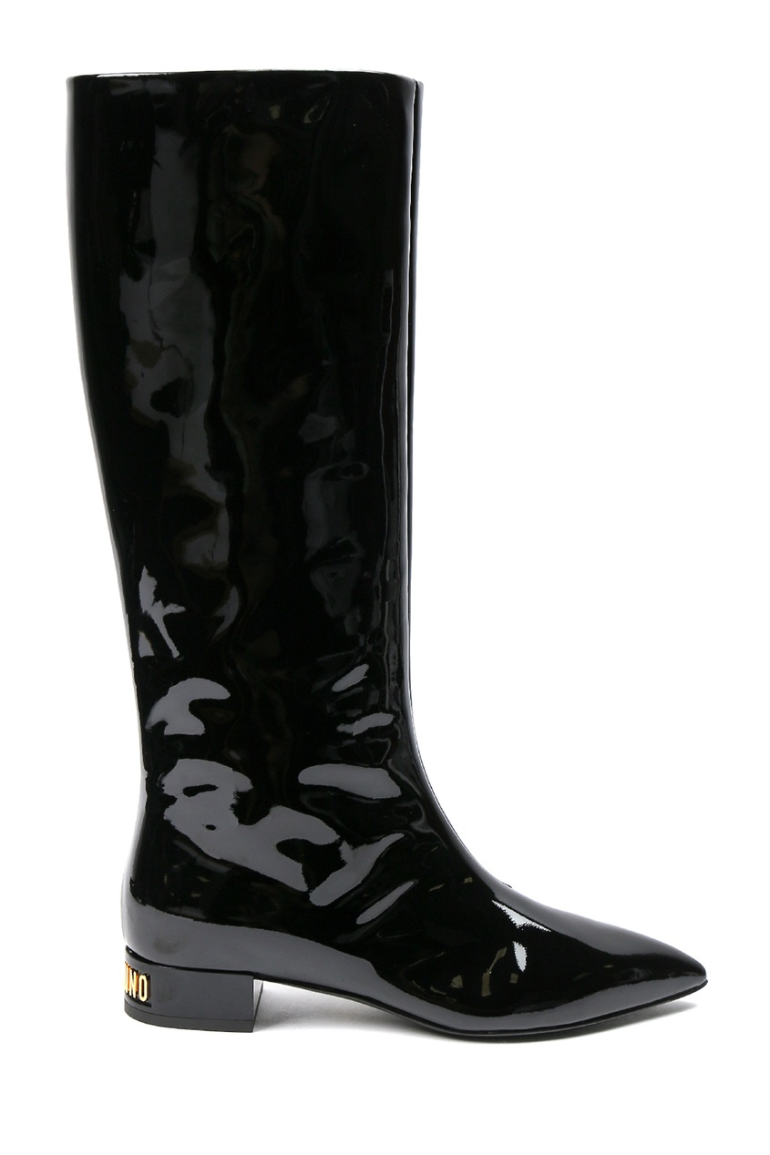 женские сапоги на каблуке moschino, черные