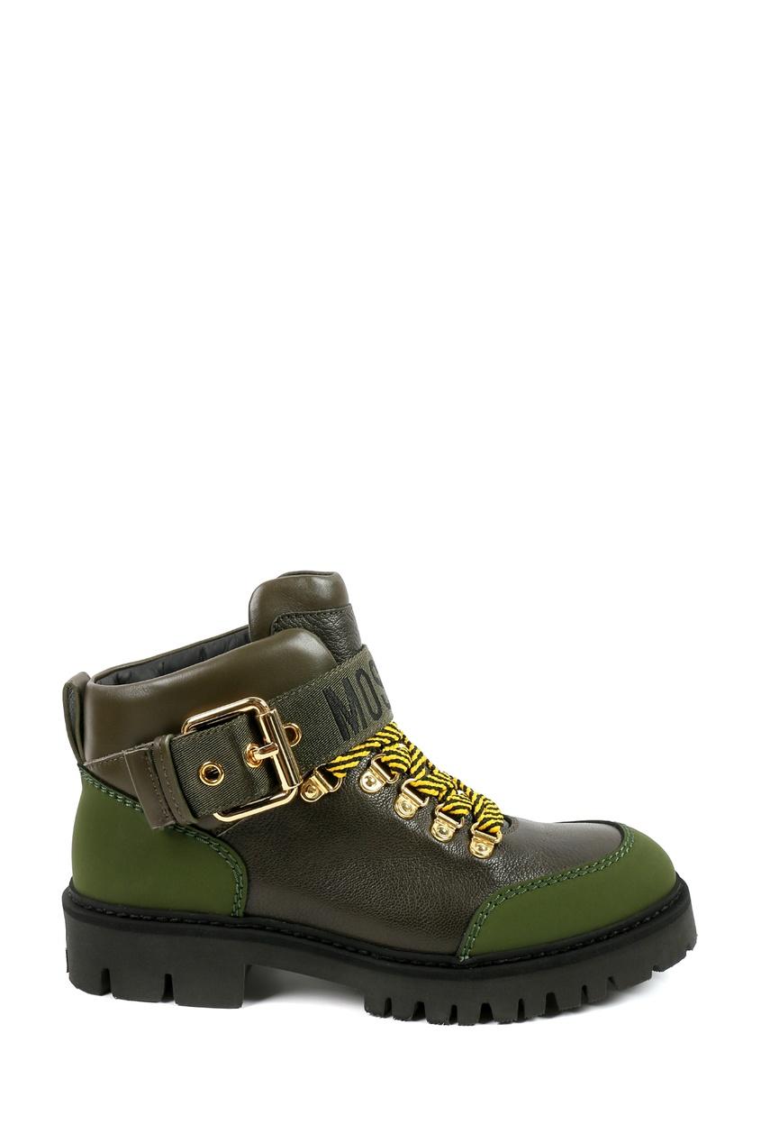 женские ботинки moschino, зеленые