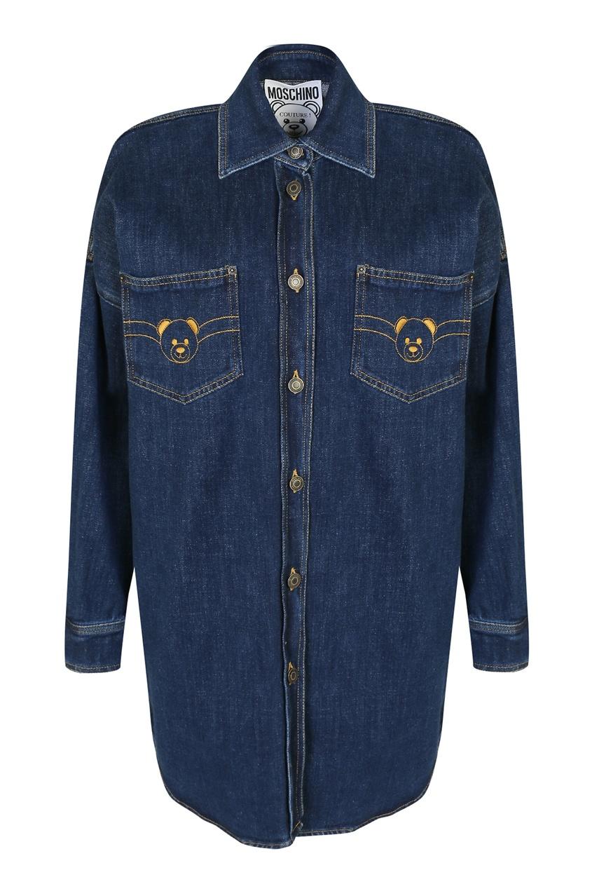 женская джинсовые рубашка moschino, синяя