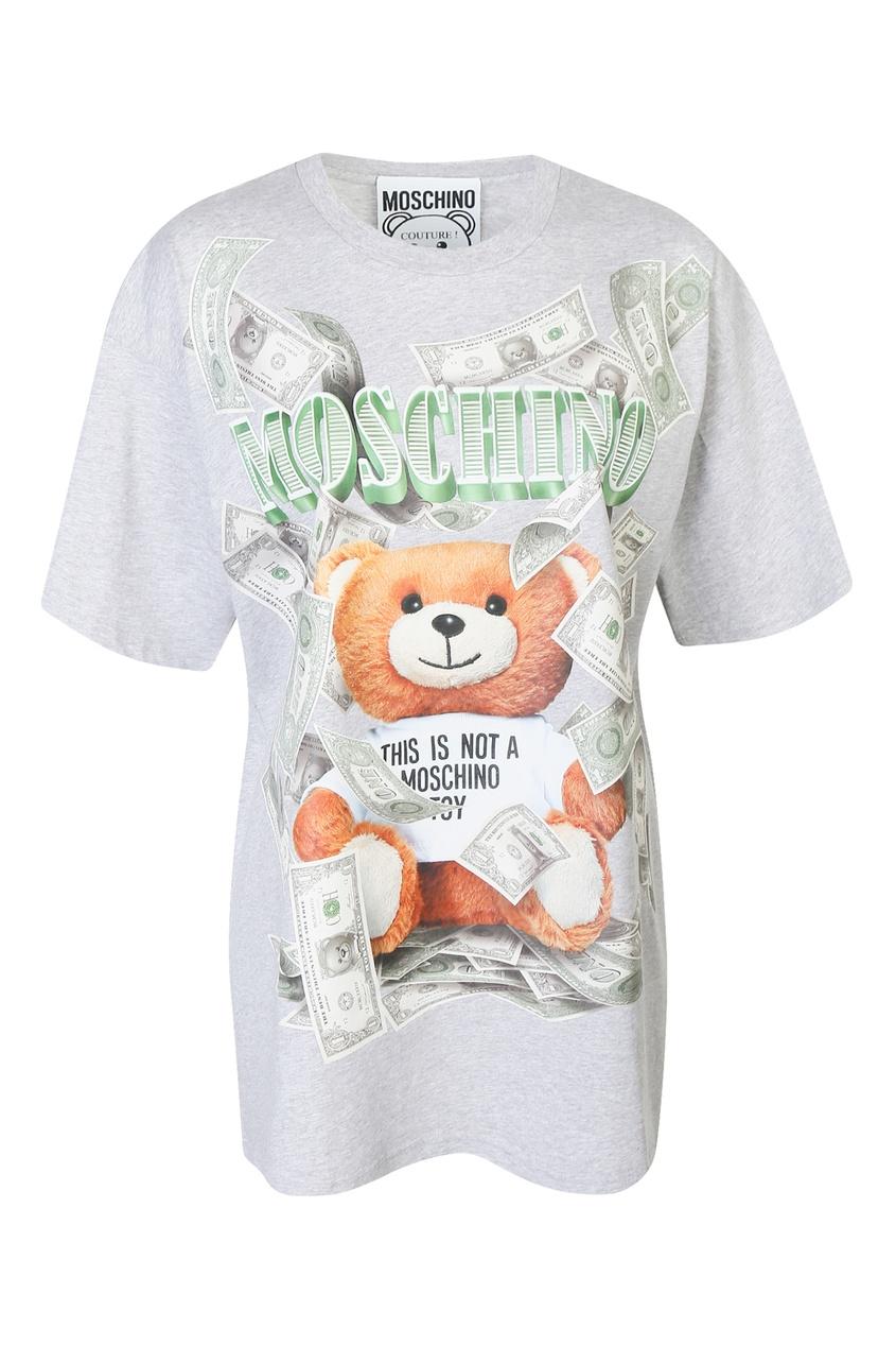 женская футболка с принтом moschino, серая