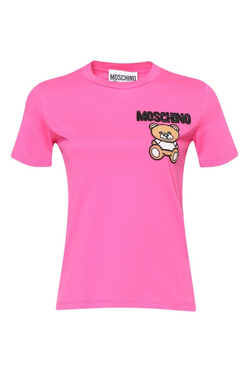 женская футболка moschino, фиолетовая
