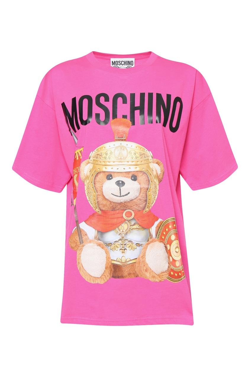 женская футболка с принтом moschino, фиолетовая