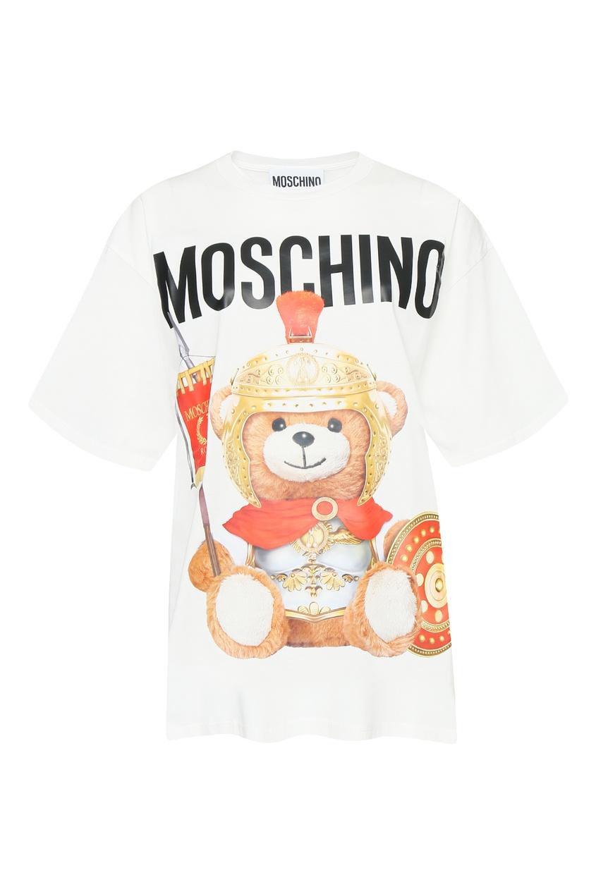 женская футболка с принтом moschino, белая