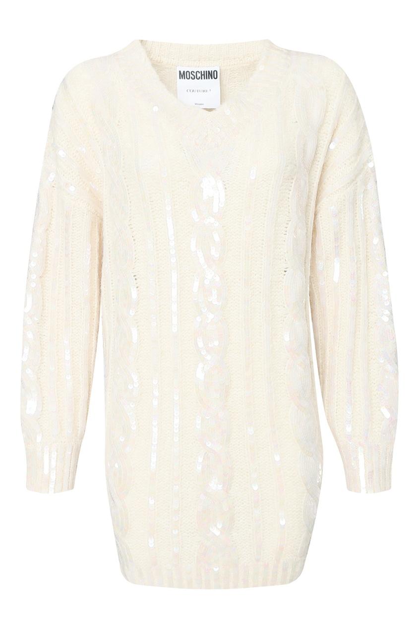 женское вязаные платье moschino, белое