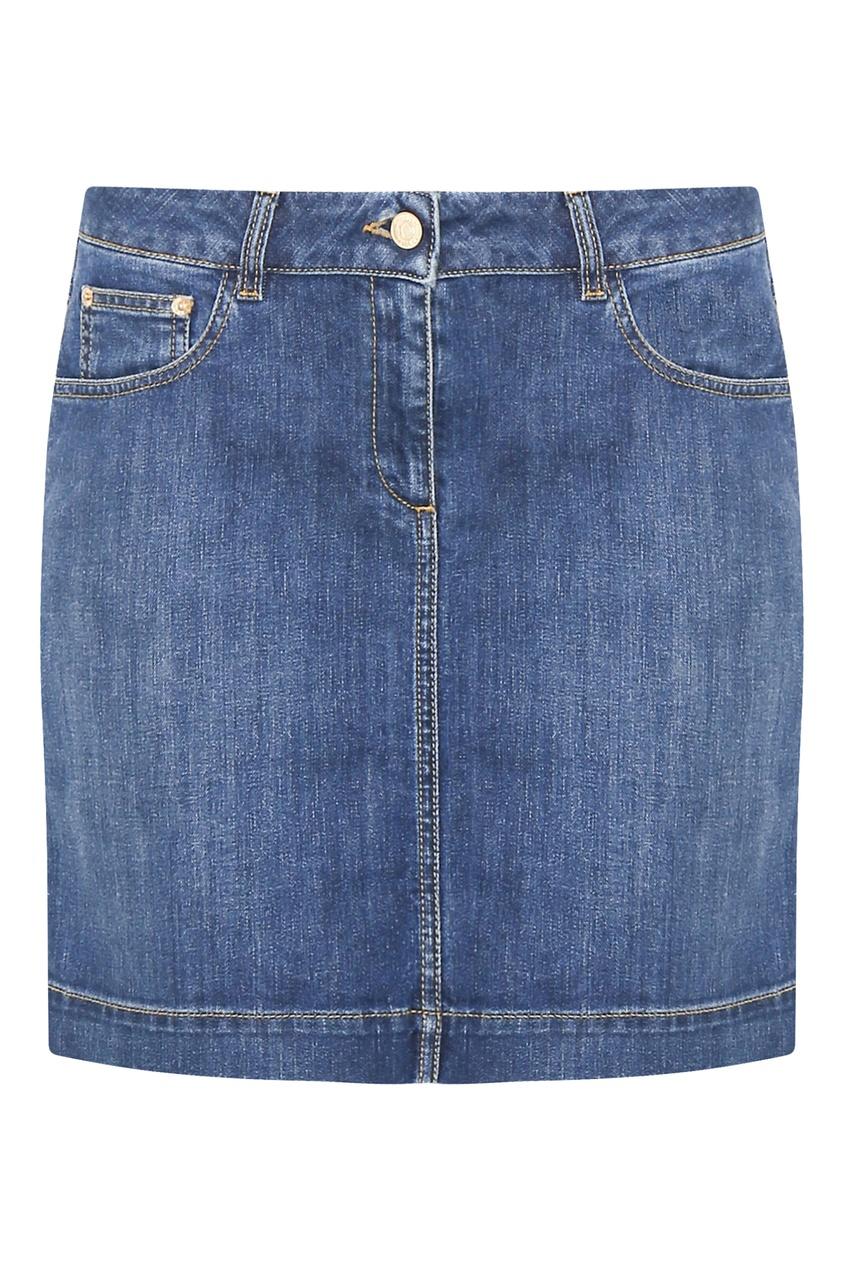 женская юбка мини moschino, синяя