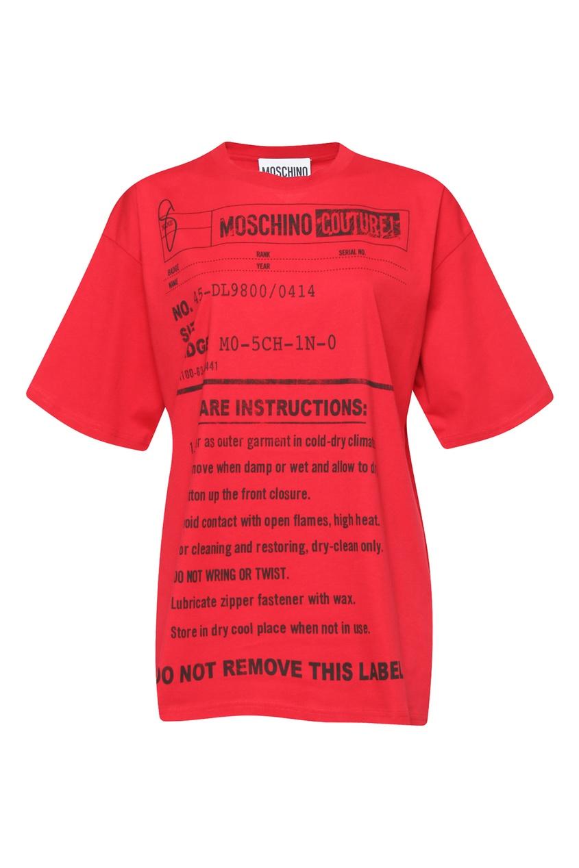 женская футболка с принтом moschino, красная