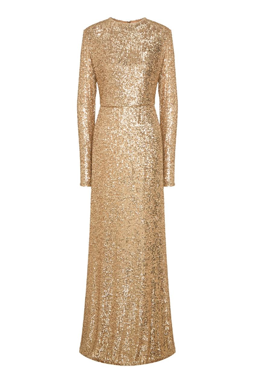 женское платье макси yana dress, золотое