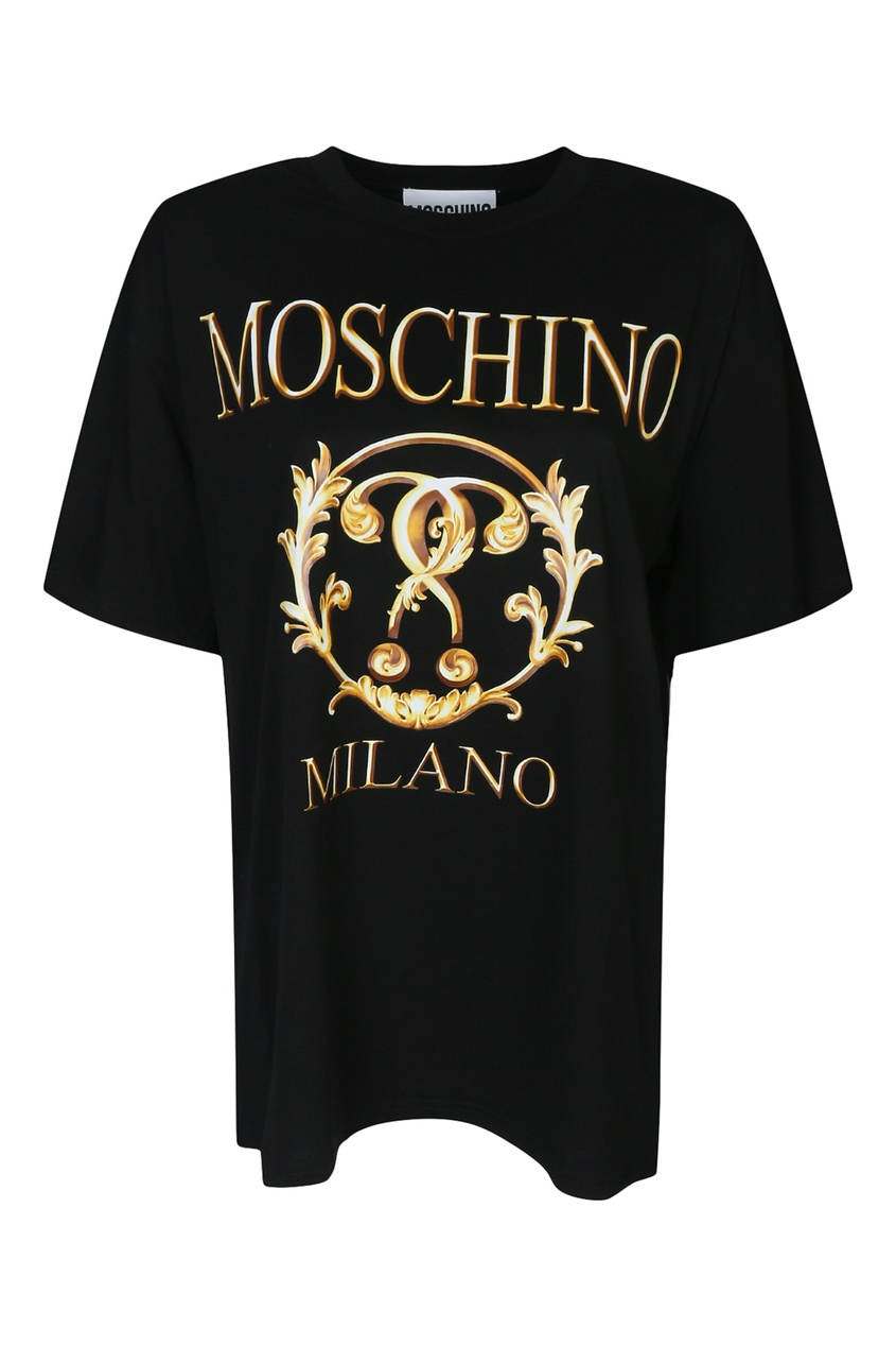женская футболка с принтом moschino, черная