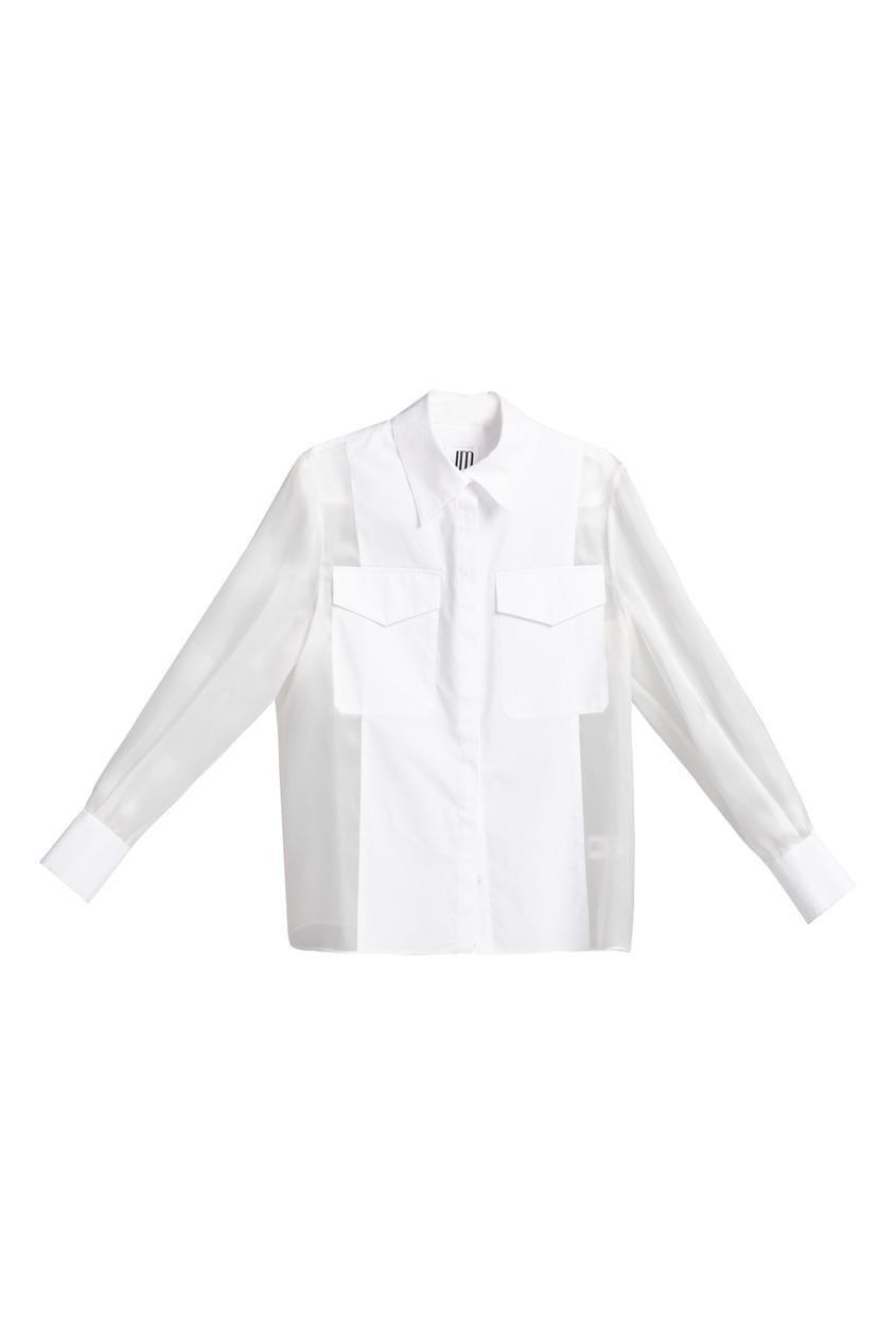 женская шелковые рубашка jm studio, белая
